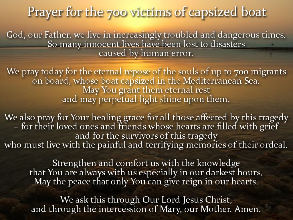 Prayer for the victims of the capsized boat
