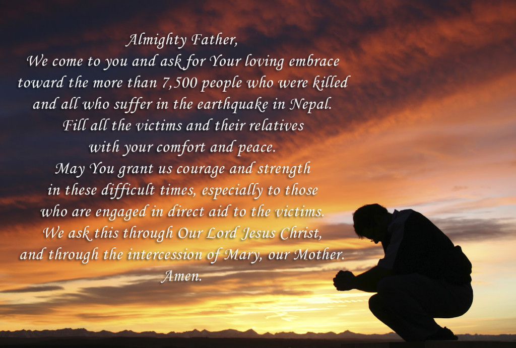 Prayer for Nepal earthquake victims