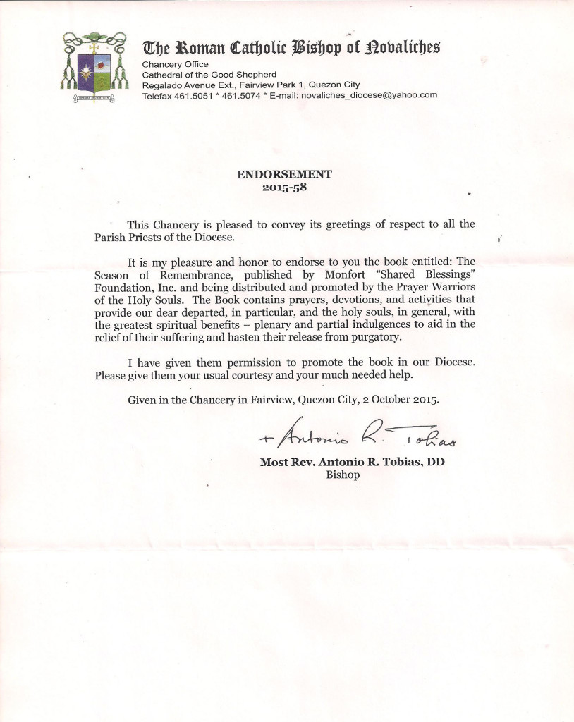 MOS Endorsement - Diocese of Novaliches