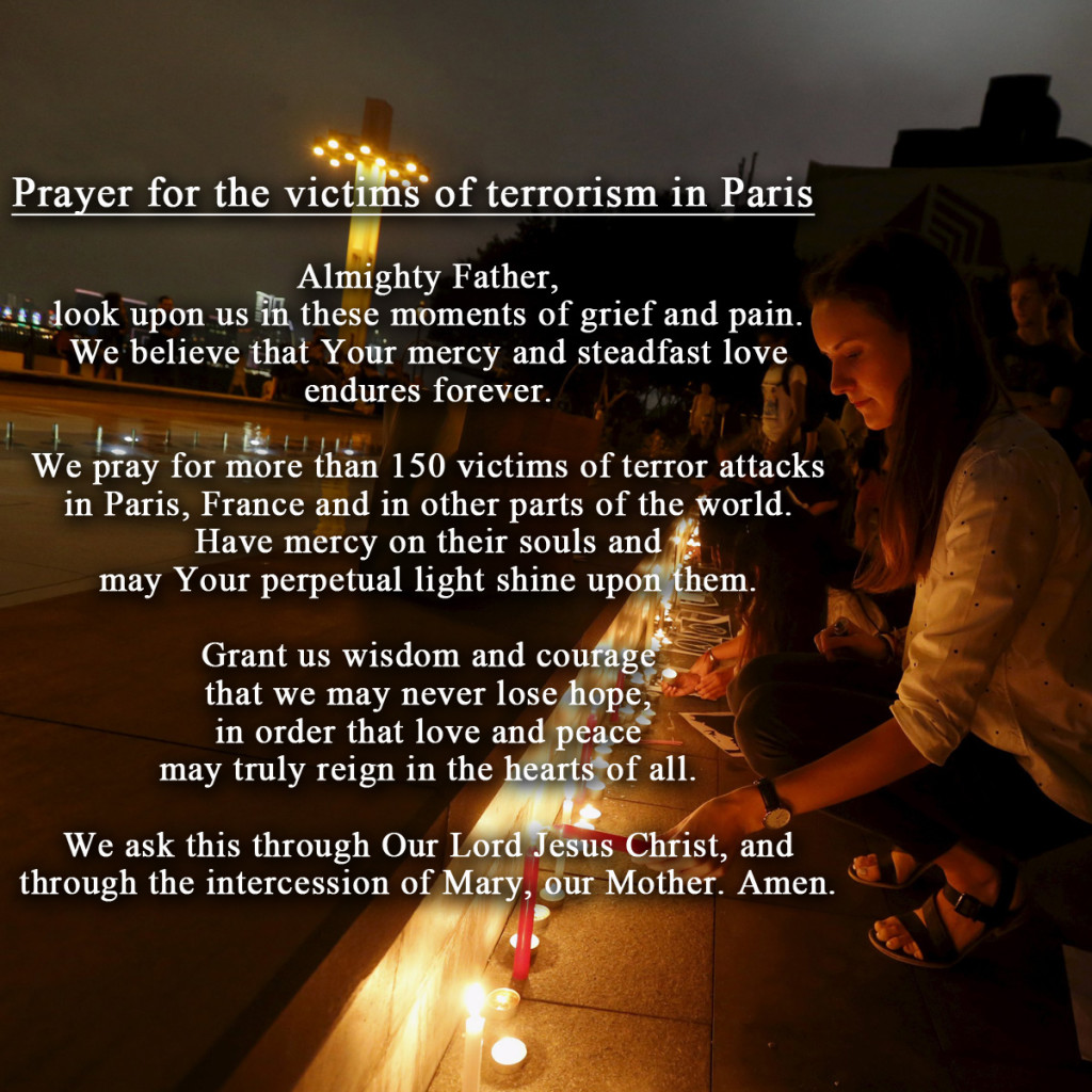 Prayers for the victims in Paris
